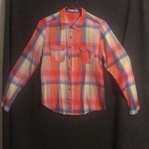 Maurices brightly plaid button (snap) up